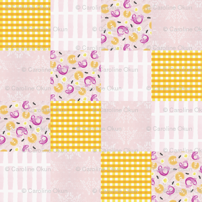 Cheater Quilt Gingham Sea and Sky Damask