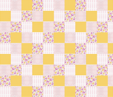 Cheater Quilt Gingham Sea and Sky Damask fabric by brainsarepretty on Spoonflower - custom fabric