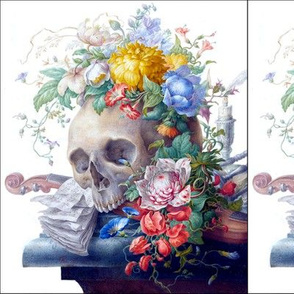 skulls skeletons flowers floral musical notes music sheets violin candlesticks candles hourglasses Chrysanthemums morning glory hibiscus colorful rainbow macabre spooky morbid eerie contrast
