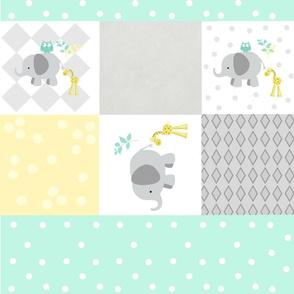 Elephant friends gray - cheaters quilt minty polka dot stripe