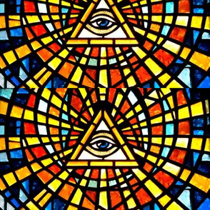Illuminati Freemasons  all seeing eyes providence triangles Templar knights spiritual sacred stained glass  spiritual occult triangles shinning rays light glow glowing sun sacred geometry  Masonic rituals symbolism symbols