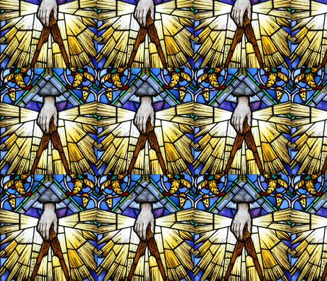 stained glass hands compass acanthus leaves great architect of the universe god clouds Illuminati Freemasons Templar knights spiritual logos occult shinning rays light glow glowing sun sacred geometry  Masonic rituals symbolism symbols mysterious compass fabric by raveneve on Spoonflower - custom fabric
