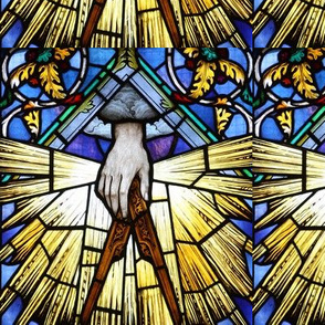 stained glass hands squares acanthus leaves great achitect of the universe god clouds Illuminati Freemasons Templar knights spiritual logos occult shinning rays light glow glowing sun sacred geometry  Masonic rituals symbolism symbols mysterious
