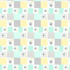 Elephant friends gray - cheaters quilt  SMALL 525 modern minty