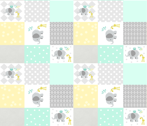 Elephant friends gray - cheaters quilt 42  minty fabric by drapestudio on Spoonflower - custom fabric