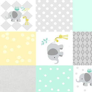 Elephant friends gray - cheaters quilt 42  minty