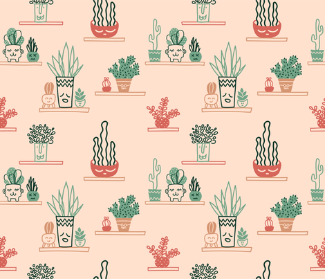 Cute succulents fabric by lebski on Spoonflower - custom fabric