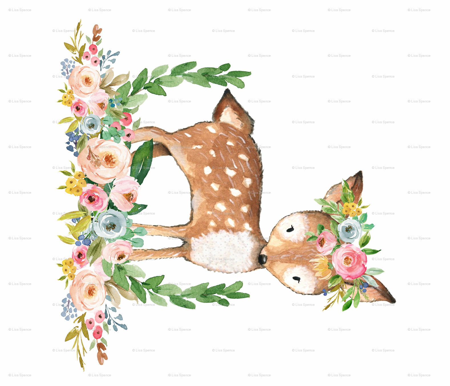 Deer boho. Floral woodland watercolor collection