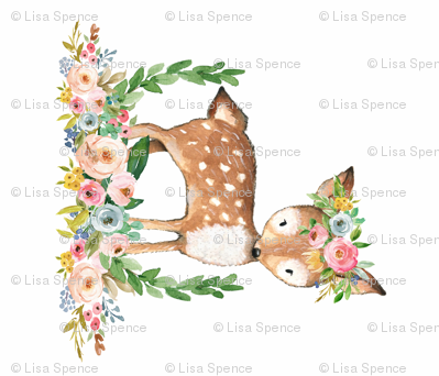 Boho Floral Woodland Watercolor Deer Collection Fabric