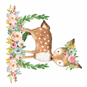 Boho Floral Woodland Watercolor Deer Collection