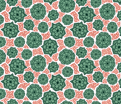Geometric Succulents (Siesta) fabric by brendazapotosky on Spoonflower - custom fabric