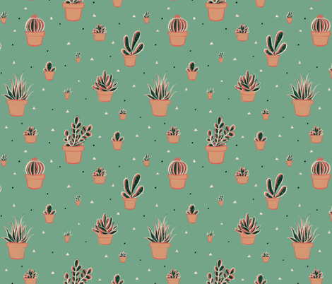 Succulent Cacti in Flowerpots with Triangles and Dots fabric by crowlands on Spoonflower - custom fabric