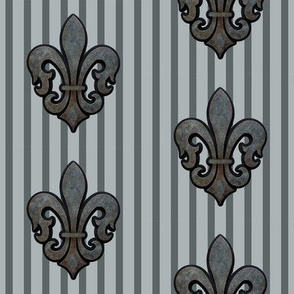 Fleur de Lis on Stripes in Gray