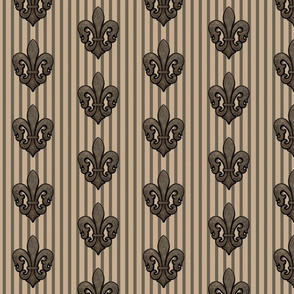 Fleur de Lis on Stripes in Sepia Tones