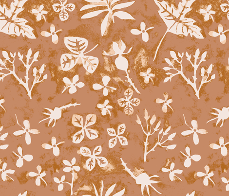 Garden Silhouettes Persimmon fabric by gollybard on Spoonflower - custom fabric