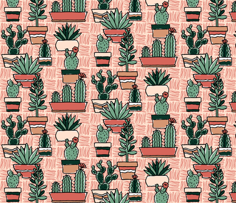 Potted Cacti Color k2a fabric by offmyrocker on Spoonflower - custom fabric