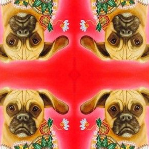 Puggle with Flowers