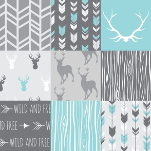 Aqua Grey Patchwork Deer NO words