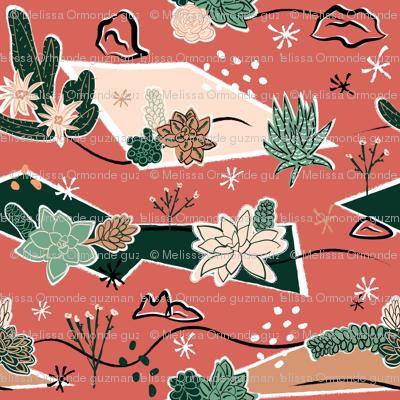 Succulents Barkcloth