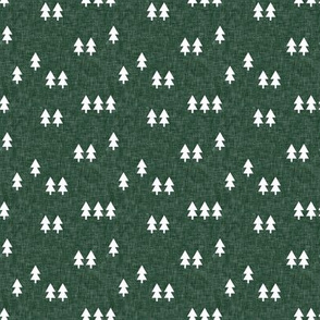 (small scale) trees on green linen