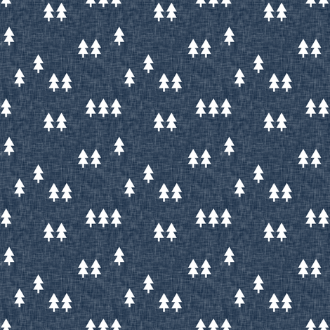 (small scale) trees on navy linen fabric by littlearrowdesign on Spoonflower - custom fabric