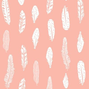 feathers fabric pink baby girl nursery design  peach