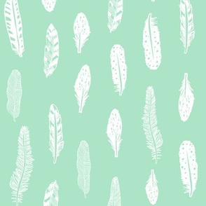feathers fabric mint baby girl nursery design