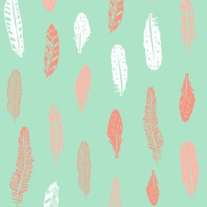 feathers fabric mint and coral baby girl nursery design
