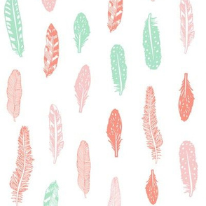 feathers fabric pink peach and mint baby girl nursery design