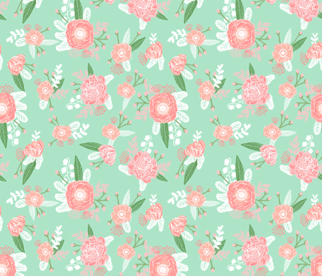Mint and pink nursery floral fabric fabric for Floral nursery fabric