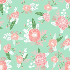 mint and pink nursery floral fabric