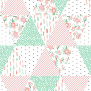 triangles cheater quilt baby florals feathers
