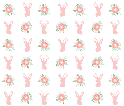 Floral deer head fabric cute baby girl nursery design for Floral nursery fabric