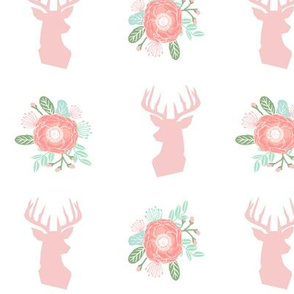 floral deer head fabric cute baby girl nursery design