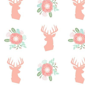 floral deer head fabric peach florals fabric