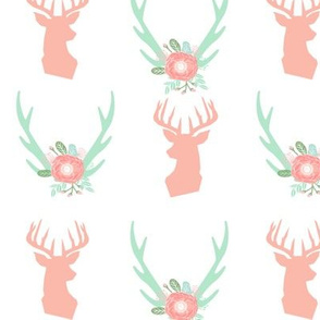 mint and peach deer head fabric antlers feathers boho