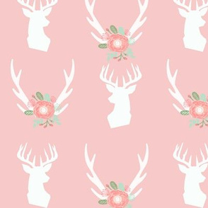 pink deer head and antlers fabric baby nursery design