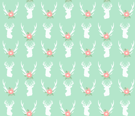 mint deer head antlers florals fabric fabric by charlottewinter on Spoonflower - custom fabric