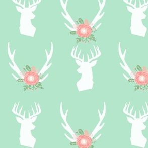 mint deer head antlers florals fabric