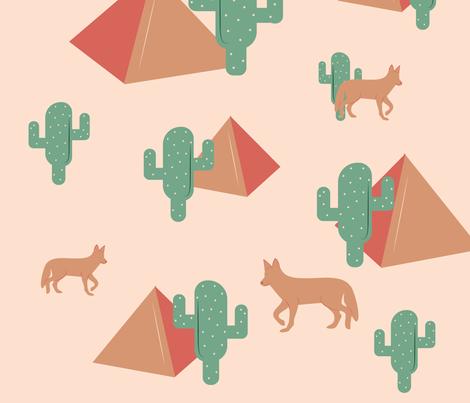 Jackal, Pyramids & Cacti fabric by xtinew on Spoonflower - custom fabric
