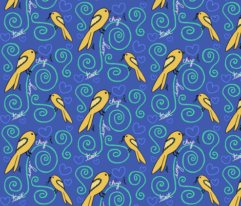 Chirp - blue fabric by franbail on Spoonflower - custom fabric
