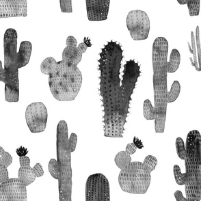 Black and White Watercolor Cactus - Larger Size
