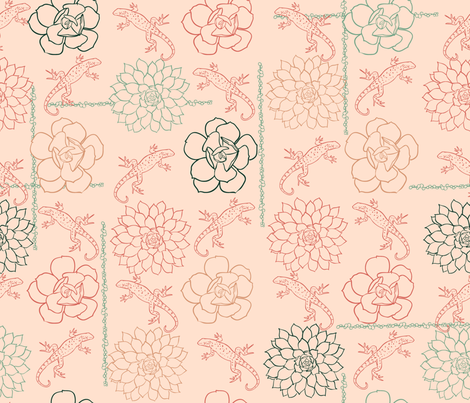 Succulent Rosettes with Lizards Pink fabric by vinpauld on Spoonflower - custom fabric