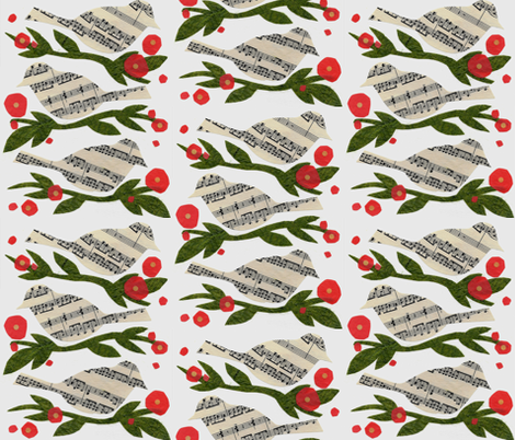 Songbirds On Blooms fabric by sueclancy on Spoonflower - custom fabric
