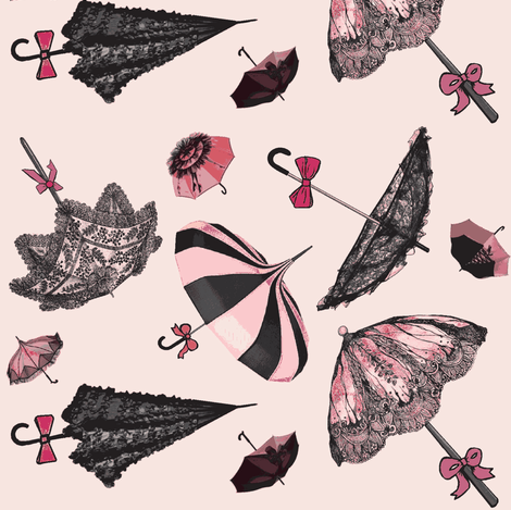 Brellas & Bows /Pink fabric by lizzystitch_-_j_scanlon on Spoonflower - custom fabric