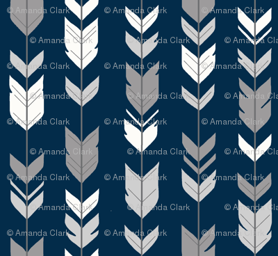Arrow Feathers - Smallscale - grey, white on navy