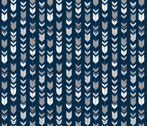 Arrow Feathers - Smallscale - grey, white on navy fabric by sugarpinedesign on Spoonflower - custom fabric