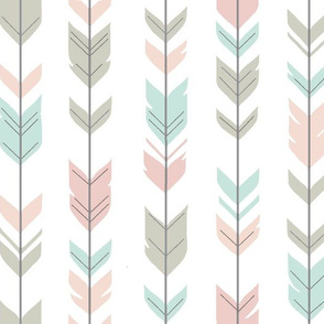 Arrow Feathers -Pastels on white with darker mint - woodland nursery-ch-ch