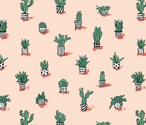 Mediterranean cacti collection fabric by revista on Spoonflower - custom fabric