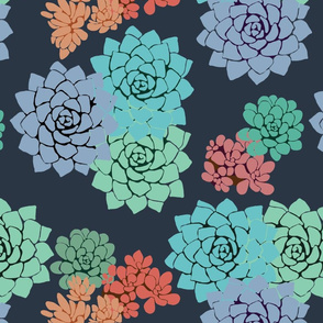 Seamless pattern with succulent plants